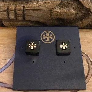 Tory Burch Black Stud Logo Flag Square Earrings